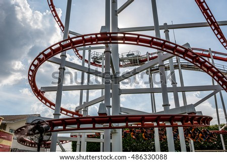 Bangkok, september 7th 2016: Dream world amusement park with roller coster