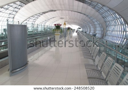 BANGKOK - SEPTEMBER 3 :The main concourse of Suvarnabhumi Airport , designed by Helmut Jahn is large  single-building airport terminal on Sep 3, 2014,Bangkok ,Thailand.                                - stock photo