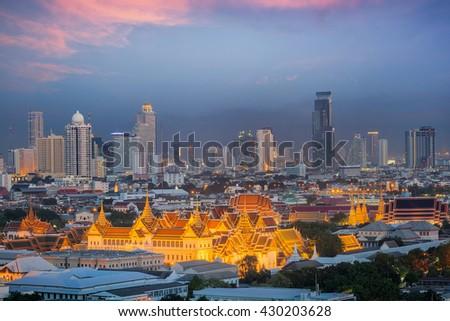 Bangkok sky, Landscape of Thai's king palace with wat Arun and Bangkok night in Bangkok city, Thailand - stock photo