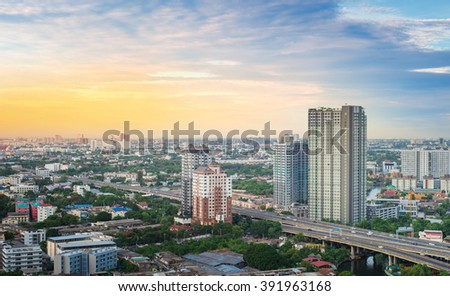 Bangkok sky line before sunset - stock photo