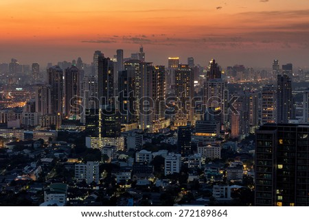 Bangkok skyline at dusk, view on the Thong Lor district, Thailand - stock photo