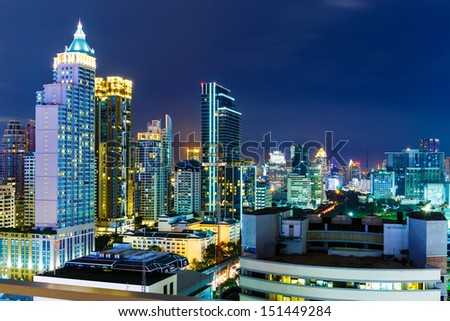 Bangkok skyline at night - stock photo