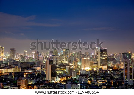 Bangkok skyline at Night Lights, Thailand - stock photo