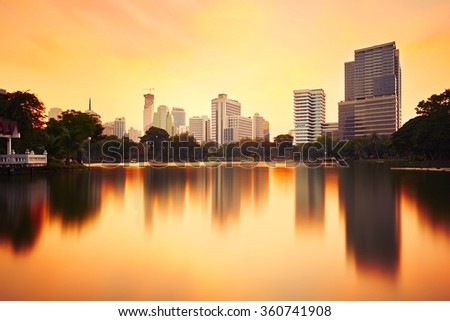 Bangkok skyline at the sunset - Thailand