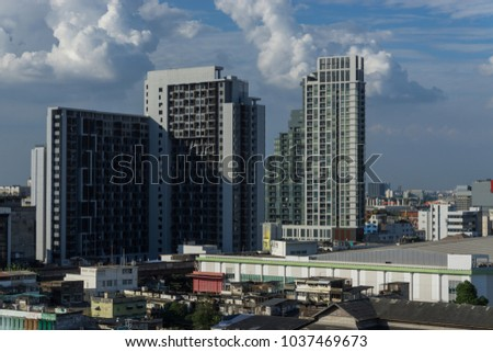 Bangkok skyline modern cityscape with construction building, Thailand