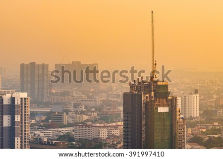 Bangkok Skyscraper view of many buildings and crane in construction field, Thailand. Bangkok is the most populated city in Southeast Asia with one sixth of population live and visit Bangkok every day - stock photo