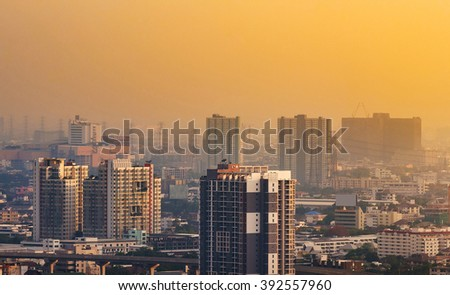 Bangkok Skyscraper view of many buildings,Thailand. Bangkok is the most populated city in Southeast Asia with one sixth of population live and visit Bangkok every day - stock photo
