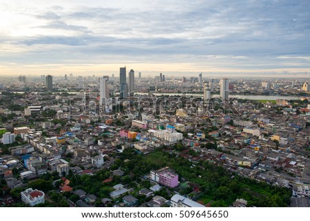 Bangkok sunrise, City scape view on metropolis of Thailand