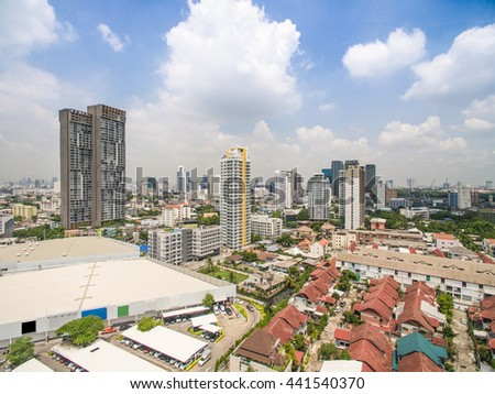 Bangkok, Thailand aerial view with blue sky