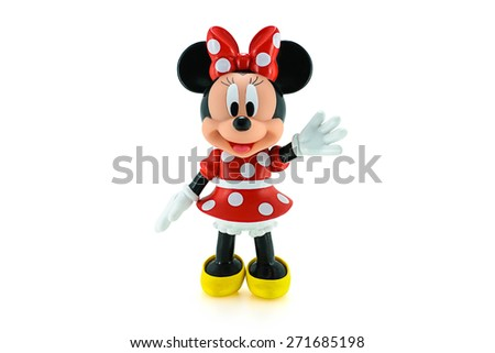 Bangkok, Thailand - Apirl 22, 2015: Toddler Minnie mouse action figure from Disney character. This character from Mickey mouse and friend animation series. - stock photo