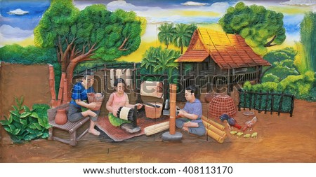 BANGKOK ,THAILAND - APR 17 : Stone carving and painting of Traditional Thai culture on temple wall at Wat Dan on April 17, 2016 in Bangkok, Thailand. - stock photo