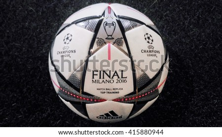 Bangkok, Thailand - April 1, 2016: Adidas Final Milano 2016 Football, The Official Matchball for UEFA Champions League Season 2015/2016 - stock photo