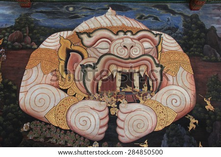Bangkok, Thailand - April 21, 2015: Beautiful Mural Painting, which is public domain or treasure of Buddhism, is painted on the wall of Emerald Buddha Temple in Bangkok, Thailand. - stock photo