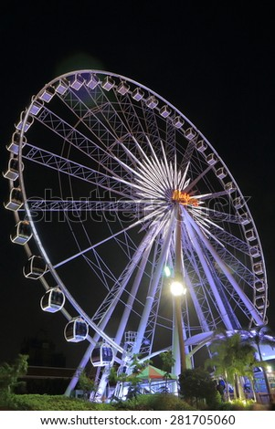BANGKOK THAILAND - APRIL 19, 2015: Big ferries wheel at Asiatique. Asiatique The Riverfront is a large open-air mall in Bangkok situated in the former docks of the East Asiatic Company opened in 2018