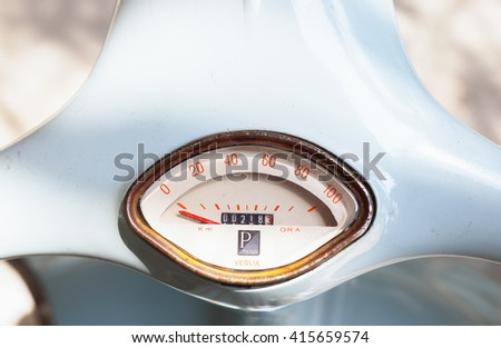 Bangkok, Thailand - April 2, 2016: Blue classical Italian Piaggio scooter vintage speedometer