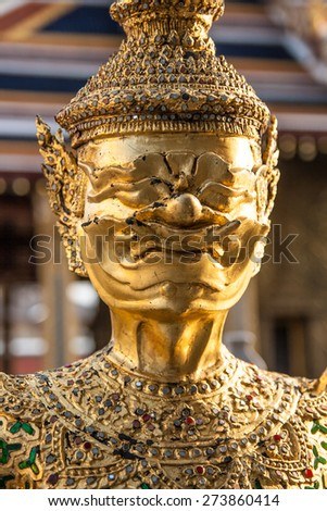 BANGKOK, THAILAND - APRIL 06: Buddhist Giant Statue in Wat Phra Kaew, It's regarded as the most sacred Buddhist temple located in Phra Nakhon District, the historic centre of Bangkok on April 06, 2015 - stock photo
