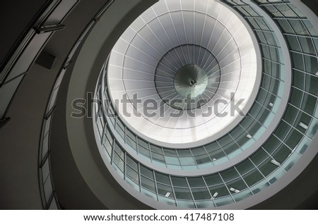 BANGKOK, THAILAND - APRIL 1, 2016: circle ceiling with glass windows in hall of Bangkok University at Bangkok, Thailand.