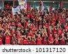 BANGKOK THAILAND - APRIL 29 : Fan Club of Muangtong in Thai Premier League (TPL) between Muangtong UTD (R) VS BBCU FC (W) at SCG stadium on April 29,2012 in Bangkok,Thailand. - stock photo