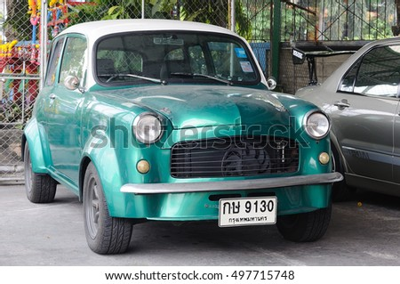 BANGKOK, THAILAND -April 16, 2016: 1955 Fiat 1100 Familiare Familiale model for Europe 5-door station wagon 4-speed manual power 0-60 mph in 33.6 sec Green color vintage car at Bangkok, Thailand.