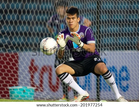 BANGKOK THAILAND-APRIL 05:Goalkeeper Wanlop Sae-Jiu of Police United  in action during Thai Premier League Bangkok United and Police United at Thai-Japanese Stadiumon Apr 05,2014 in Thailand - stock photo