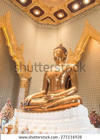 Bangkok, Thailand - 13 April, 2015 ; Golden buddha at Wat Traimit (Temple of golden Buddha).  - stock photo