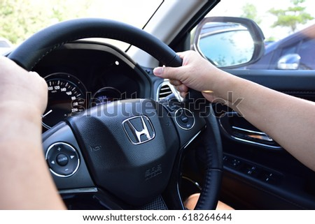 Bangkok, Thailand - April 10, 2017: Honda Black Steering Wheel And Silver Logo. Honda Motor Co., Ltd. is a Japanese public. Honda interior design for latest Honda hrv model.