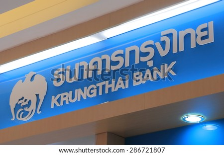BANGKOK THAILAND - APRIL 22, 2015: Krungthai Bank. Krungthai Bank is the state owned bank founded in 1966 in Thailand.