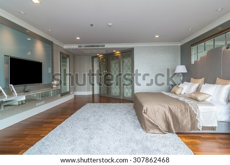 BANGKOK, THAILAND - APRIL 25 :  Luxury Interior bedroom at My resort as river condominium beside the chao phraya river on April 25, 2015 in Bangkok, Thailand - stock photo