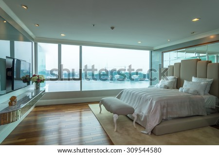 BANGKOK, THAILAND - APRIL 25 : Luxury Interior bedroom at My resort with the river condominium beside the Chao Phraya river on April 25, 2015 in Bangkok, Thailand - stock photo