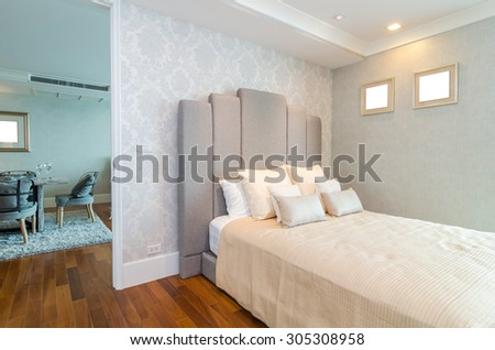 BANGKOK, THAILAND - APRIL 25 :  Luxury Interior bedroom which can see living room at My resort as river condominium beside the chao phraya river on April 25, 2015 in Bangkok, Thailand - stock photo