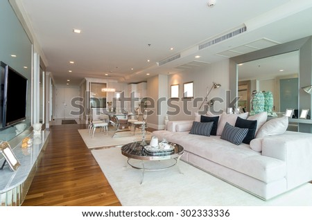 Elegant BANGKOK, THAILAND   APRIL 25 : Luxury Interior Living Room With Kitchen  Zone And Restaurant Part 10