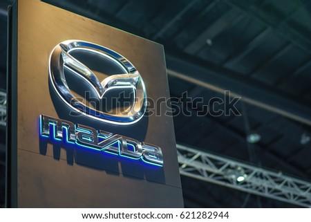 BANGKOK , THAILAND - April 01, 2017 : Mazda car company logo inside of dealership building.