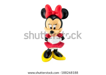 Bangkok,THAILAND - April 9, 2014: Minnie mouse from Disney character. plastic toy sold as part of the McDonald's Happy meal. - stock photo