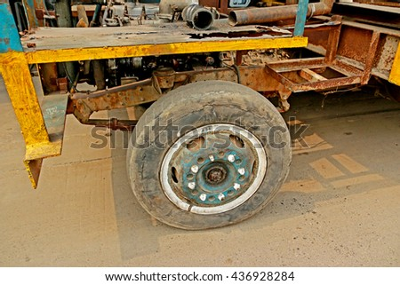 BANGKOK-THAILAND-APRIL 29 : Old wheel truck in steel factory on April 29, 2016 Bangkok, Thailand - stock photo