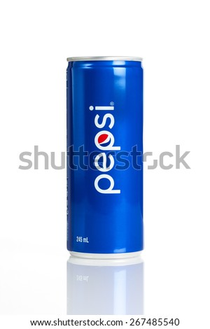 BANGKOK, THAILAND - APRIL 07, 2015: Pepsi can 245ml in Thailand. Pepsi is a carbonated soft drink, produced and manufactured by PepsiCo. - stock photo