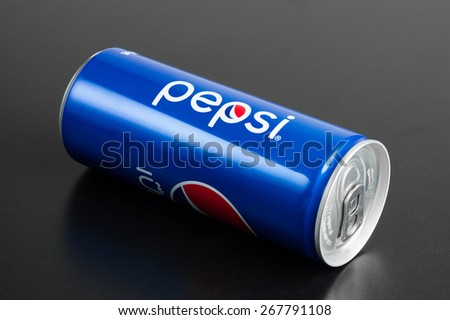 BANGKOK, THAILAND - APRIL 07, 2015: Pepsi can 245ml in Thailand. Pepsi is a carbonated soft drink, produced and manufactured by PepsiCo.