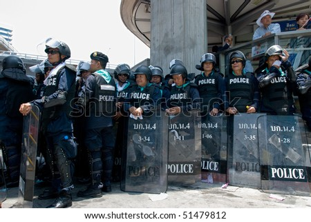 BANGKOK, THAILAND - APRIL 21: Police during the demonstrations by the Red Shirts political movement who try to force prime minister Abhisit Vejjajiva to resign April 21, 2010 in Bangkok, Thailand.