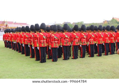 BANGKOK, THAILAND - APRIL 9: Soldiers Parade for the royal of cremation ceremony of royal funeral pyre of HRH Princess Petcharat Ratchasuda in sanam luang on April 9,2012 in Bangkok, Thailand - stock photo