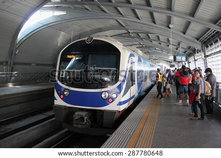 Bangkok, Thailand - April 28, 2015: The Airport Rail Link is an express and commuter rail, linking from Suvarnabhumi Airport to Central Bangkok, with 8 stations.