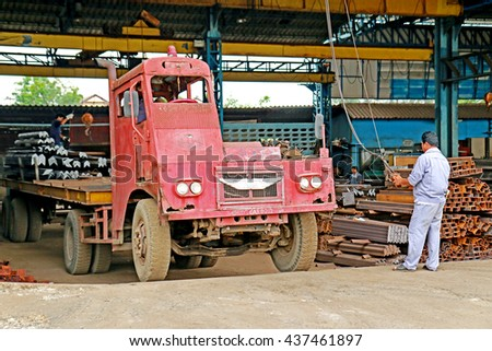 BANGKOK-THAILAND-APRIL 29 : The old truck in warehouse on April 29, 2016 Bangkok, Thailand.