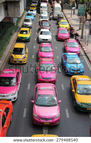 Bangkok, Thailand - April 16, 2015: Traffic jam is the main problem that happens regularly in Bangkok, Thailand.  - stock photo