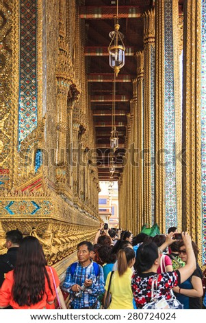 BANGKOK THAILAND - APRIL 22 2014: Wat Pho Temple in Bangkok. Wat Pho is one of the oldest temples in Bangkok and is home to the famous Reclining Buddha. Also the most popular place for tourists - stock photo