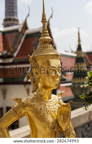 BANGKOK THAILAND - APRIL 22 2014: Wat Pho Temple in Bangkok. Wat Pho is one of the oldest temples in Bangkok and is home to the famous Reclining Buddha. Also the most popular place for tourists