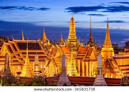Bangkok, Thailand at Royal Palace and Temple of the Emerald Buddha at night. - stock photo