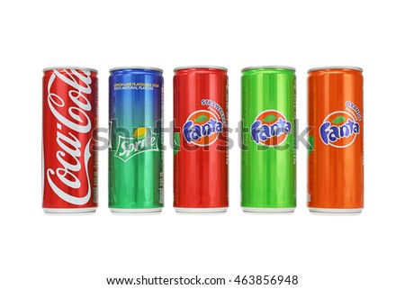 BANGKOK, THAILAND - AUG 2: Coca-Cola, Fanta and Sprite Cans Isolated On White. drinks produced and created by the Coca-Cola Company on August 2, 2016 in Bangkok, Thailand