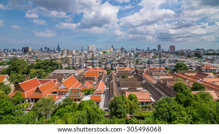 Bangkok, Thailand - Aug 10, 2015 Land scape of temple and city. View from the top of The Golden Mount.