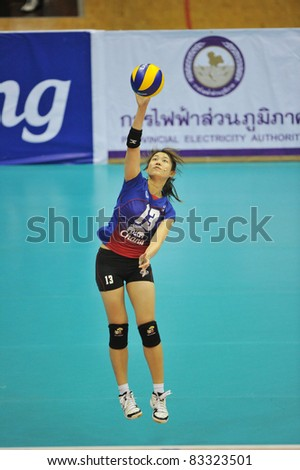 BANGKOK, THAILAND - AUG 21: T.Nootsara of THA during the match between BRA and THA of the 2011 FIVB World Grand Prix at Thai-Japanese Stadium on Aug. 21, 2011 in Bangkok, Thailand