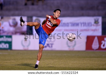 BANGKOK,THAILAND-AUG21:Teeratep Winothai of BGFC in action during Thai Premier League between Army United and Bangkok Glass FC at Army stadium on AUGUST21,2013 in Bangkok,Thailand.