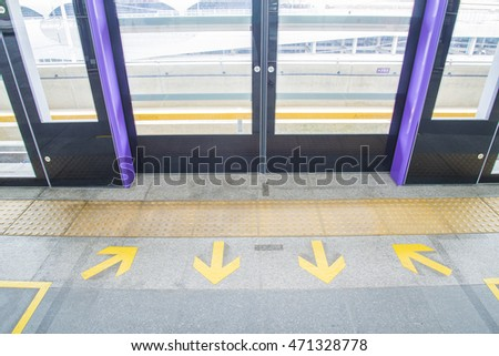 Bangkok, Thailand - Aug 13 2016 The first test run of MRT purple line begins test running between Tao-Poon to Khlong-Bang-Phai