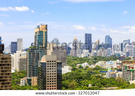 Bangkok, THAILAND - Aug 09, 2015: Witthayu and Lumphini districts, famous business district in Bangkok